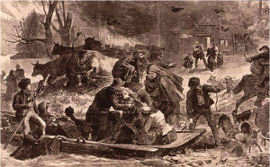 Illustration of the Peshtigo Fire from the November 25, 1871 edition of Harper's Weekly Magazine.  Image used courtesy of the Wisconsin Electronic Reader.