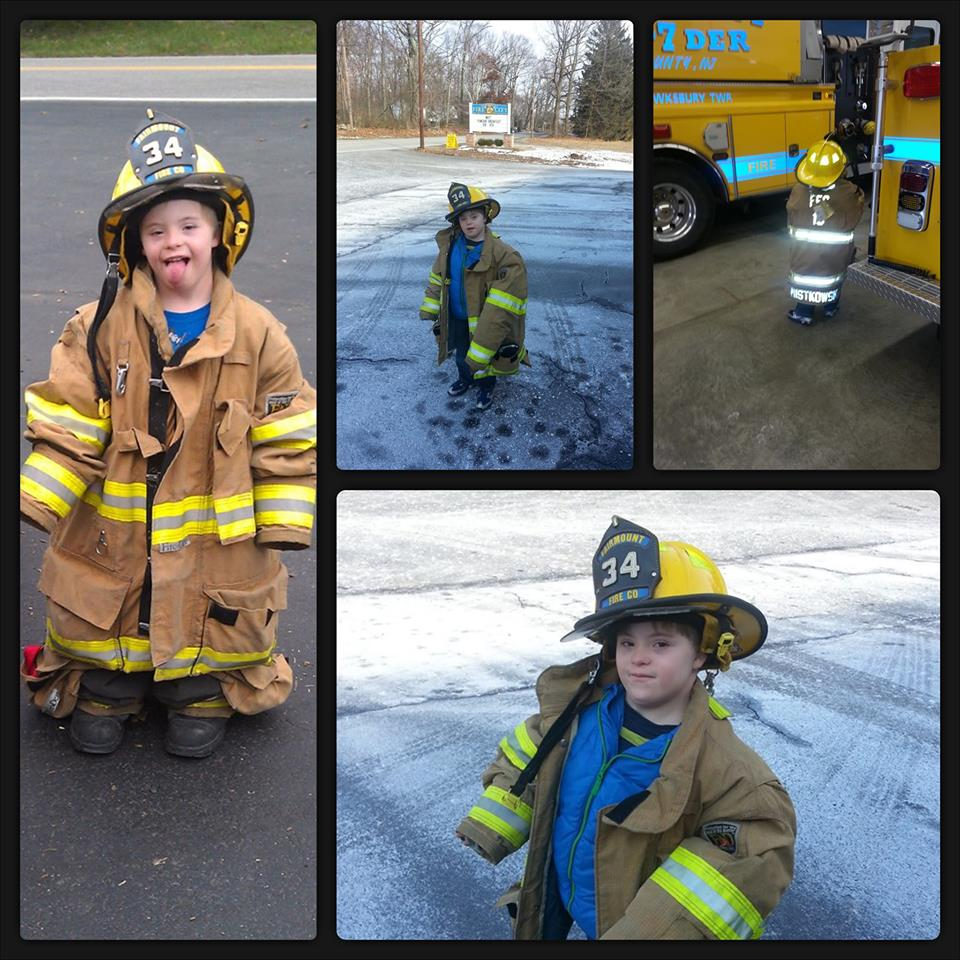 Future Firefighter Mattie on World Down Syndrome Day
