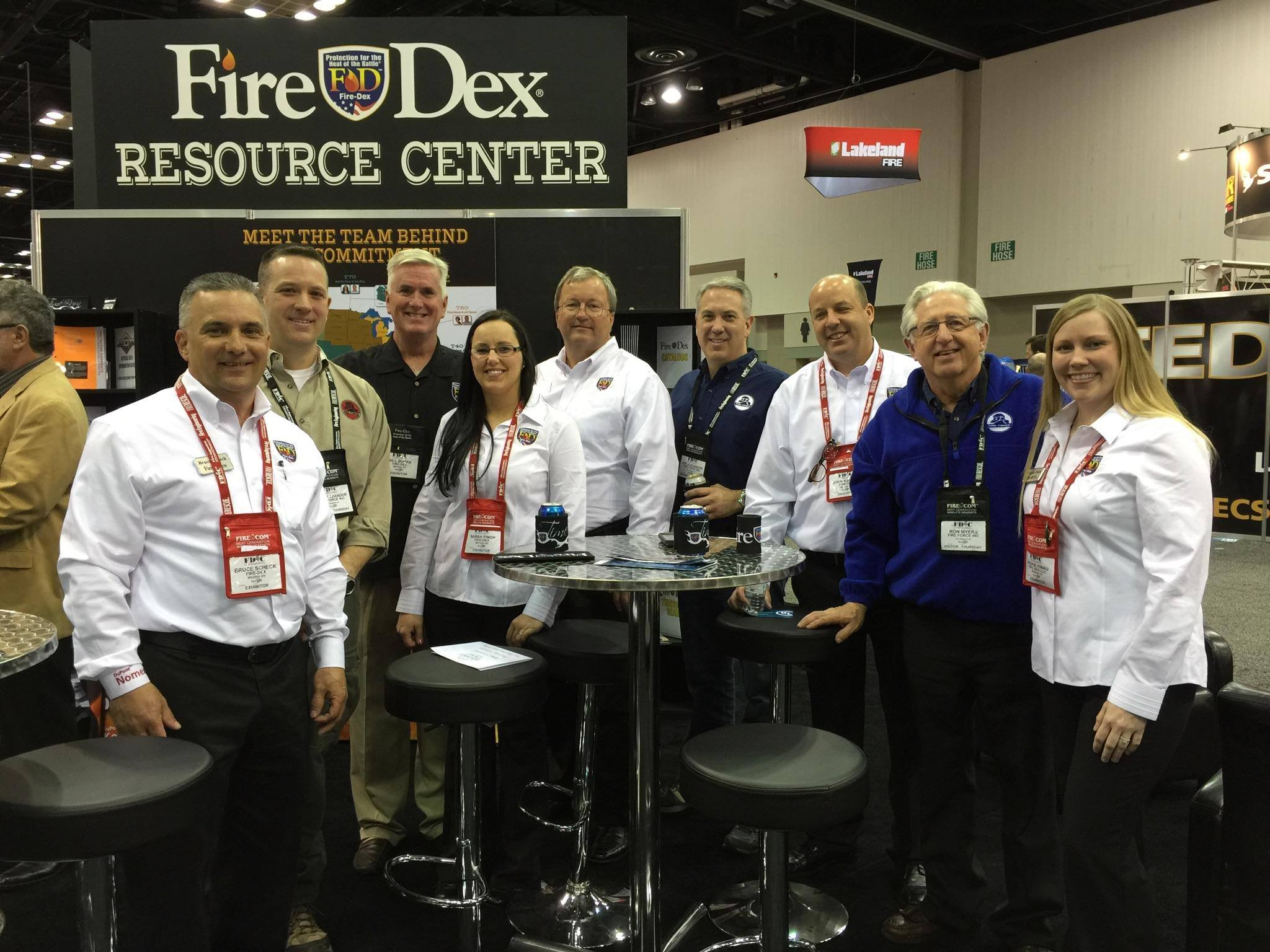 Photo from FDIC 2015. From left to right: Bruce Scheck, Jeff Alexander (Fire Force), Bill Burke, Sarah Finch, Allen Rom, Joe Alexander (Fire Force), John Karban, Ron Myers (Fire Force) and Jackie Finau.
